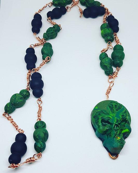 Green & Black Skull Rosary .. No. 47 ..
