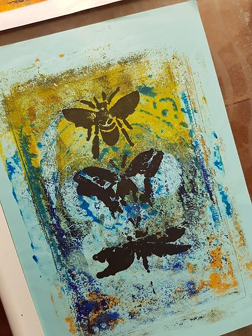Yellow & Blue with Black Bee Butterfly & Dragonfly Limited Edition Print
