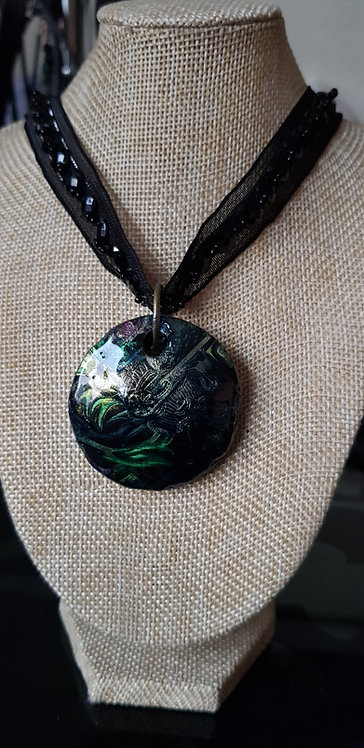 Green & Gold Egyptian Printed Pendant .. 204 ..
