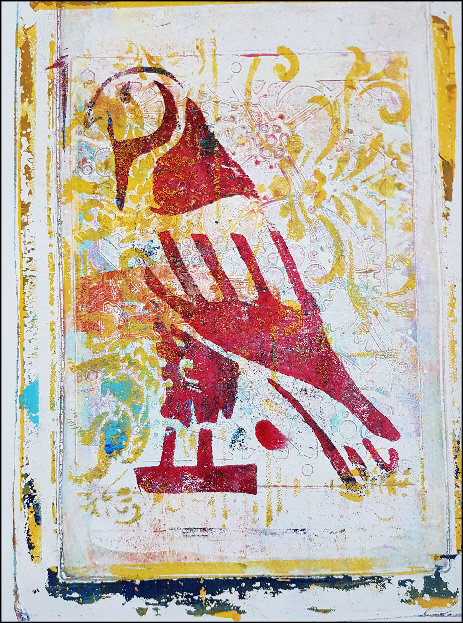 Burgundy Falcon Ancient Egyptian Limited Edition Print