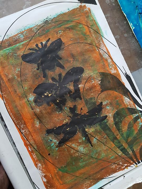 Orange with Black Bee Butterfly & Dragonfly Limited Edition Print