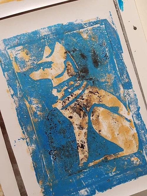 Stone, Gold & Blue Pharaohs Dog Limited Edition Print