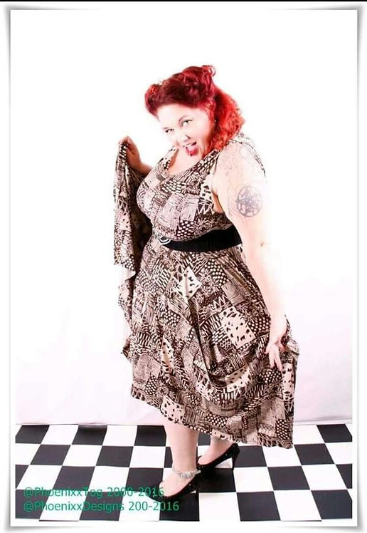 Plus Size Patchwork Pattern Fabric Lagenlook Dress