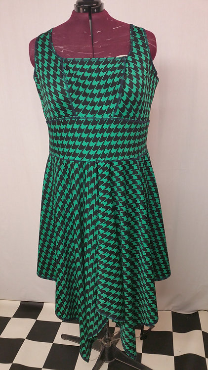 Plus Size Green Houndstooth Print Fabric 1950s Hankerchief Dress ..
