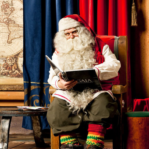 Santa Claus in his office