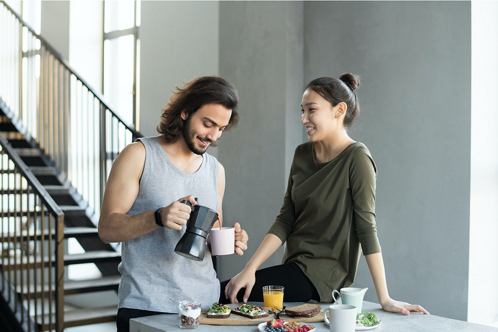 couple over morning coffee