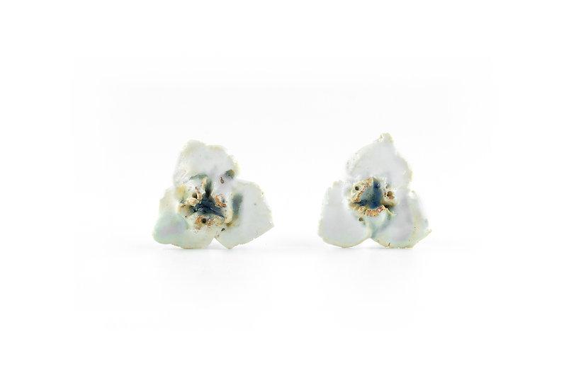 Gold Glaze Ceramic Flower Earring D