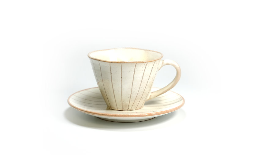 Mino | Tokusa White Cup and Saucer