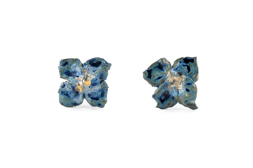 Gold Glaze Ceramic Flower Earring F