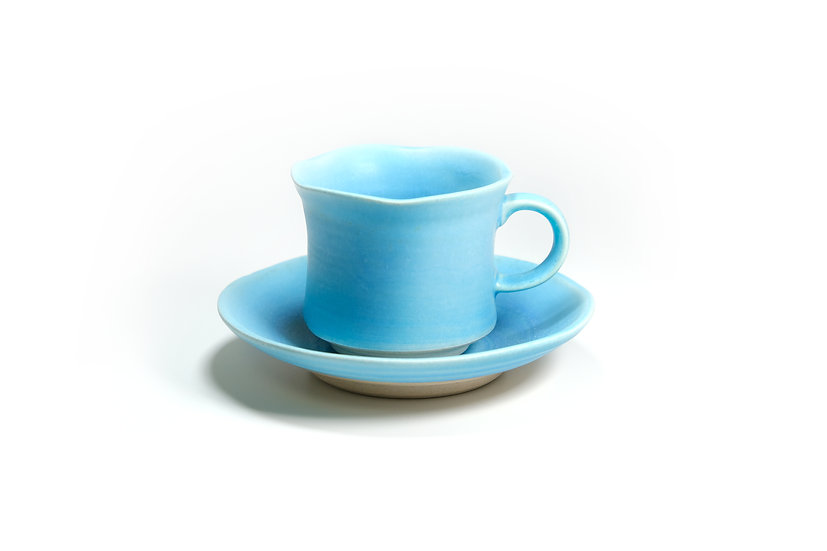 Mino | Green Crystal Cup and Saucer
