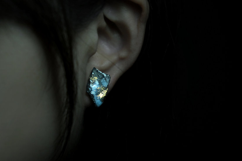 Impermanence Gold Glaze Ceramic Earring