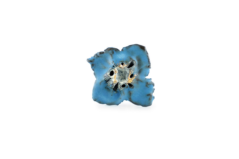 Miki Furuhata Gold Glaze Ceramic Flower Brooch A