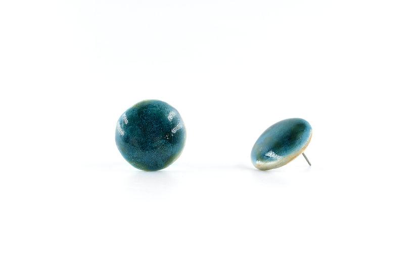Origin Glazed Round Earring Dark Green B