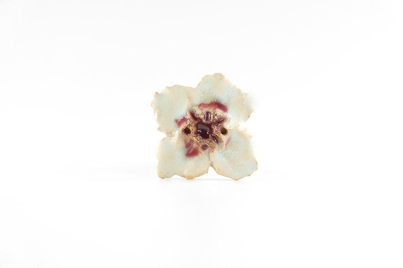 Miki Furuhata Gold Glaze Ceramic Flower Brooch C
