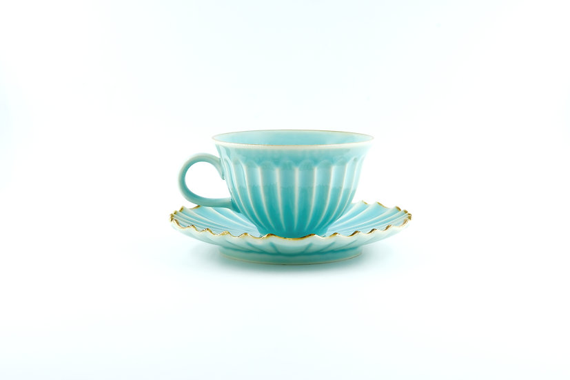 Mino | Blue Peacock Cup and Saucer