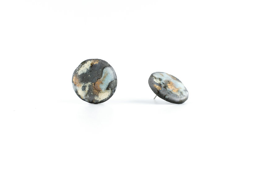 Gold Glaze Ceramic Round Earring A