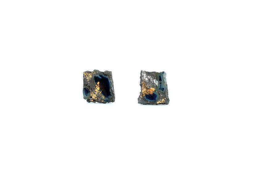 Impermanence Gold Glaze Ceramic Earring- Blue