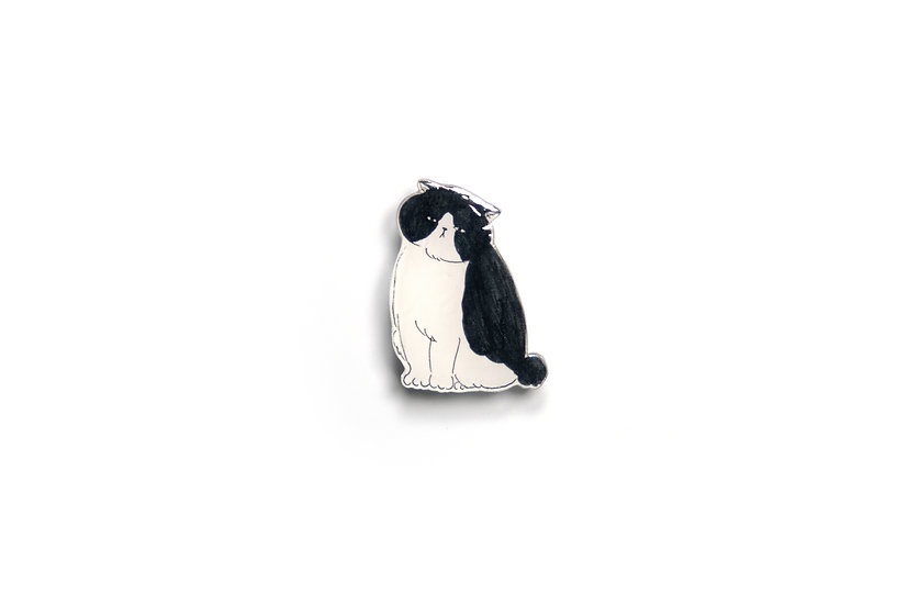 Monochrome Cat Brooch 4