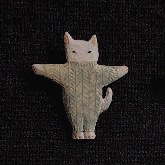 Torinoko Wooden Brooch Cat D