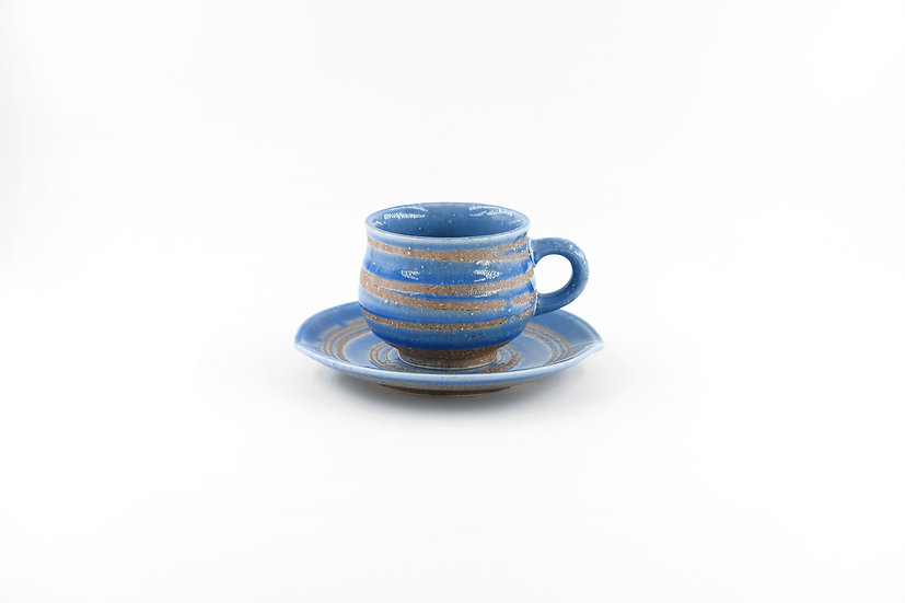 Mino | Blue Coffee Cup & Saucer