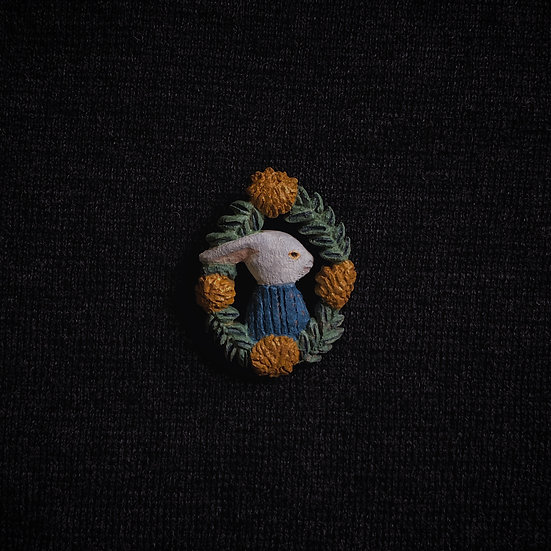 Torinoko Wooden Brooch Rabbit A Blue Sweater