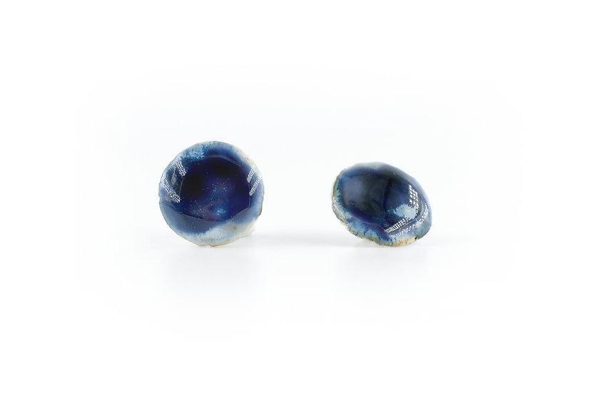 Origin Glazed Round Earring Dark Blue E
