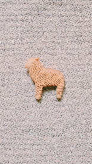 Torinoko Wooden Brooch Sheep A Beige
