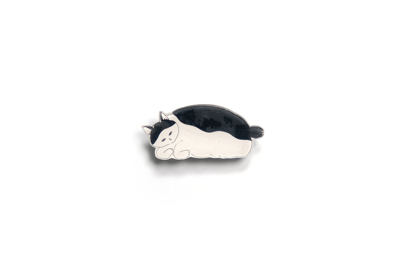 Monochrome Cat Brooch 7