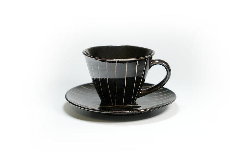 Mino   Tokusa Black Cup and Saucer