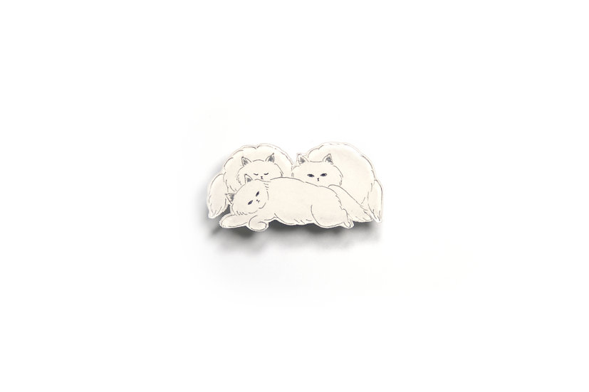 Monochrome Cat Brooch 9