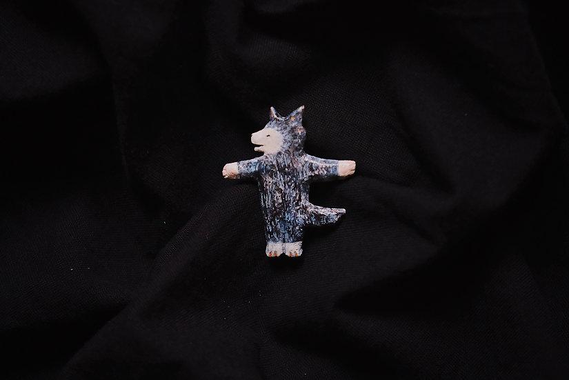 Torinoko Wooden Brooch Wolf