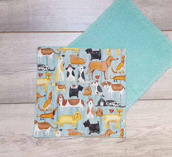 Face Towel - Dogs on Teal