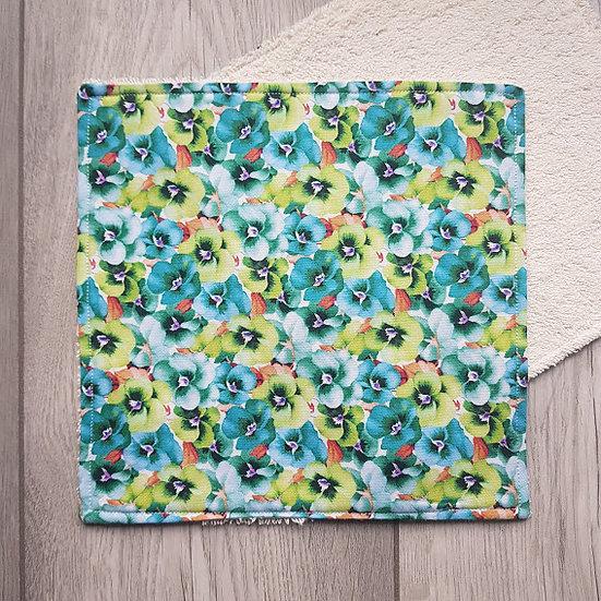 Face Towel - Green Pansies
