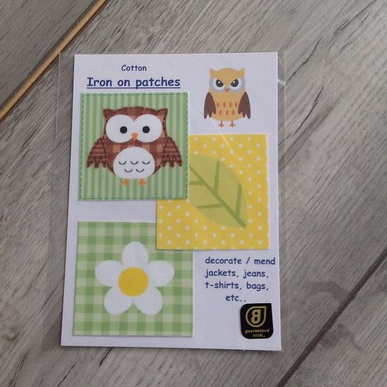 Iron on Owl Patches - yellow and green