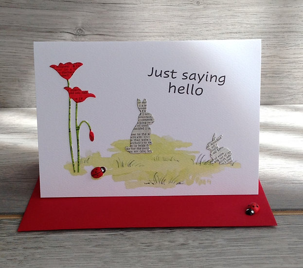 Handmade 'Just to say Hello' Card -Red tulip and rabbits