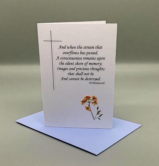 Sympathy Card Wordsworth - Queen Ann's Lace
