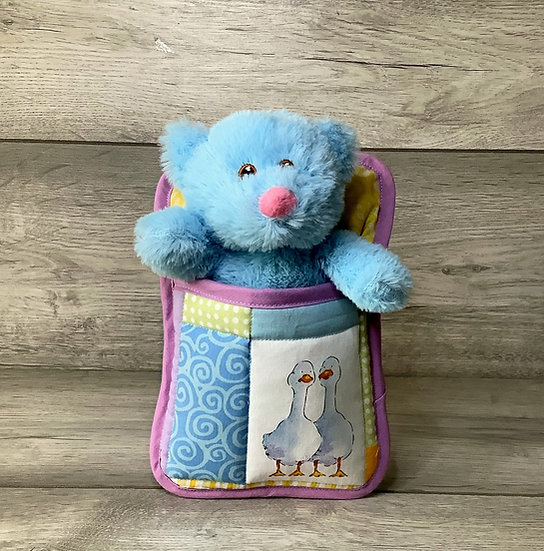 Ted in a Bed - Blue teddy