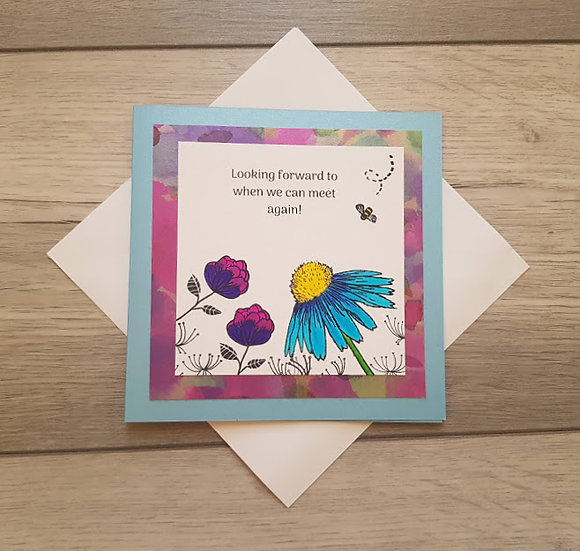 Hand stamped 'Keep in Touch' Card - Blue and Purple flowers