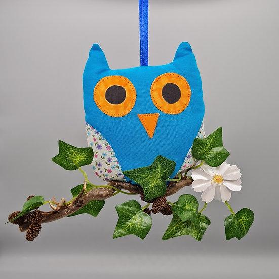 Hanging Owl Decoration - Turquoise & Ivory