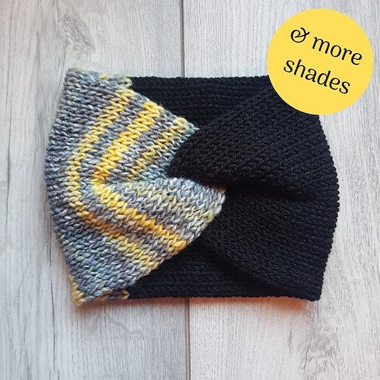Handmade Knit Headband - Grey Stripes