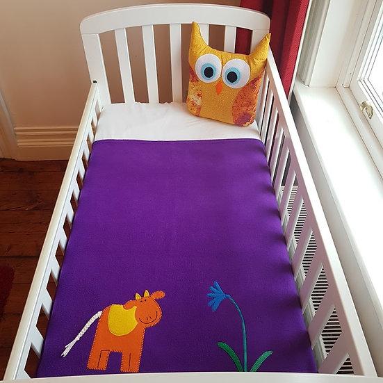 Fleece Blanket - Orange Cow on Purple