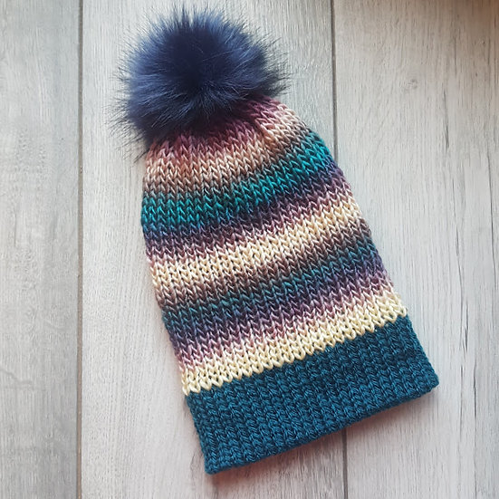 Handmade Knit Hat - Blueberry Swirl