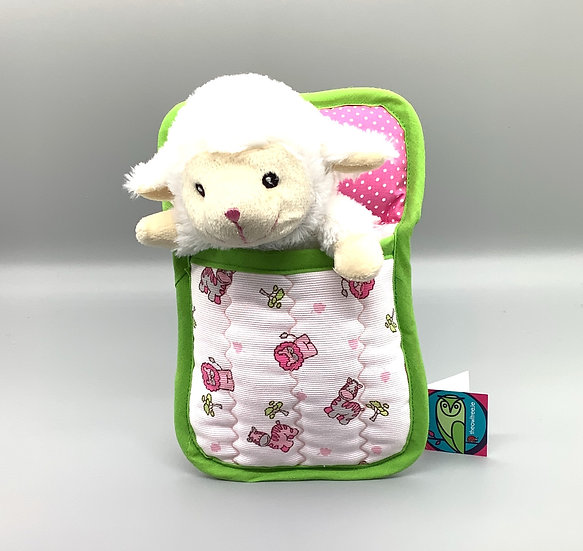 Ted in a Bed - Lucy Lamb with green trim