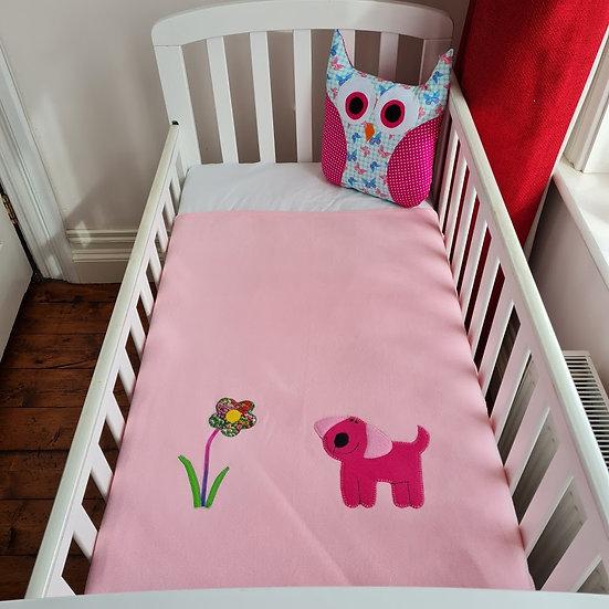 Fleece Blanket - Raspberry Puppy on Pink
