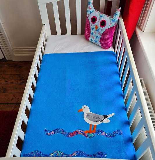 Fleece Blanket - Seagull on Turquoise