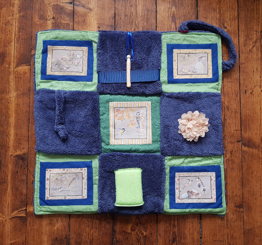 Fidget Blanket in Shades of Blue with Birds