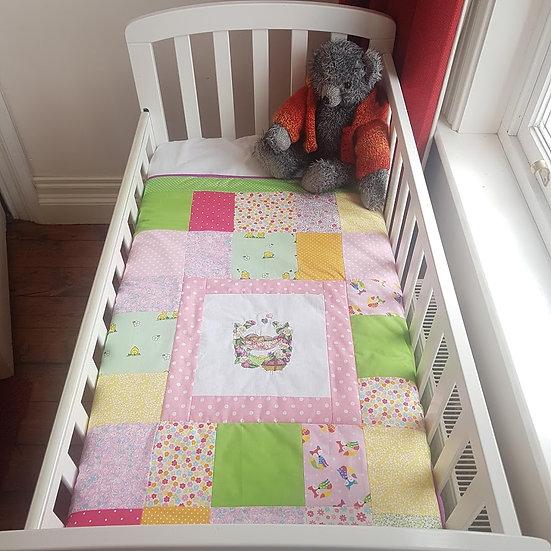 Embroidered Patchwork Blanket - Baby Hedgehog