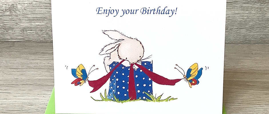 Stamped Card- Enjoy your Birthday!