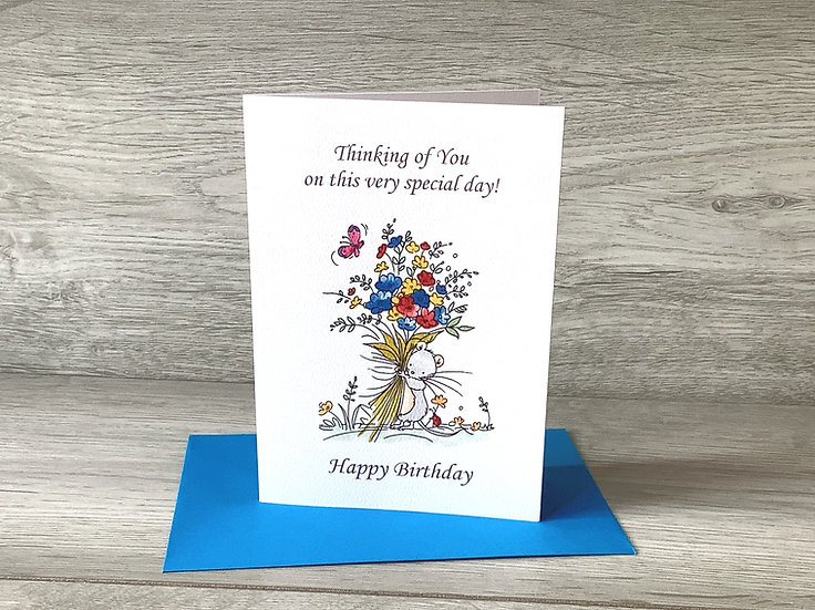 Happy Birthday - Ink stamped card