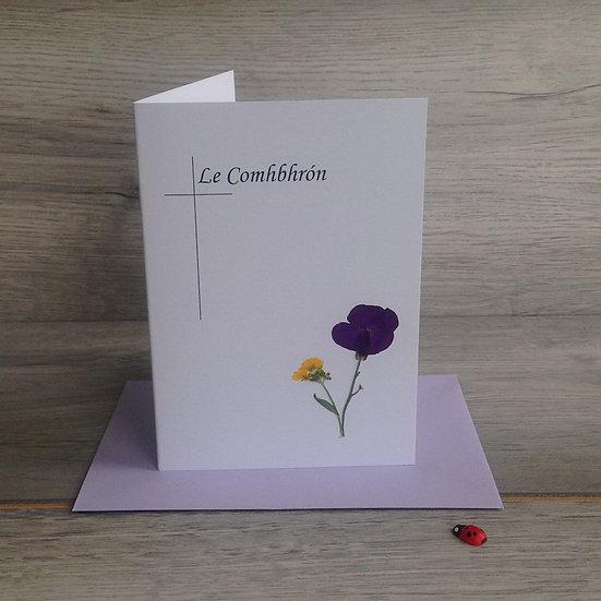 Le Comhbhrón - Sympathy Card with real flowers
